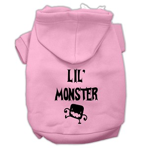 Lil Monster Screen Print Pet Hoodies Pink Size Lg (14)
