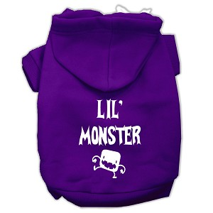 Lil Monster Screen Print Pet Hoodies Purple Size XS (8)