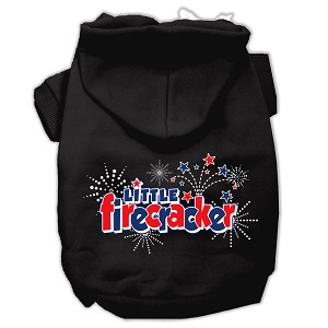 Little Firecracker Screen Print Pet Hoodies Black XXL (18)
