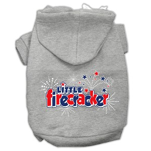 Little Firecracker Screen Print Pet Hoodies Grey L (14)