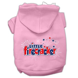 Little Firecracker Screen Print Pet Hoodies Light Pink Size XXL (18)