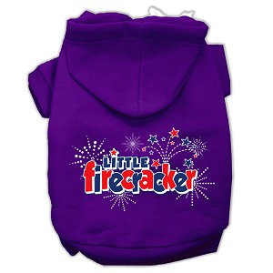Little Firecracker Screen Print Pet Hoodies Purple Size L (14)