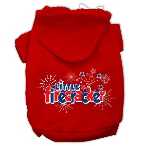 Little Firecracker Screen Print Pet Hoodies Red Size M (12)