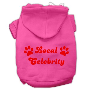 Local Celebrity Screen Print Pet Hoodies Bright Pink Size Lg (14)