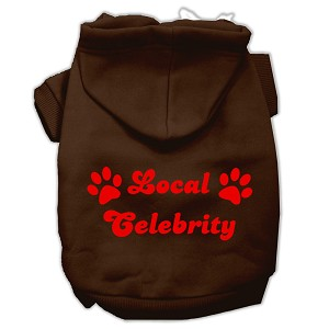 Local Celebrity Screen Print Pet Hoodies Brown Size XS (8)