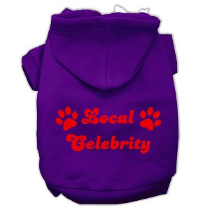 Local Celebrity Screen Print Pet Hoodies Purple Size Sm (10)