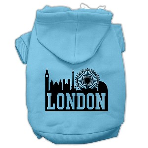 London Skyline Screen Print Pet Hoodies Baby Blue Size Lg (14)
