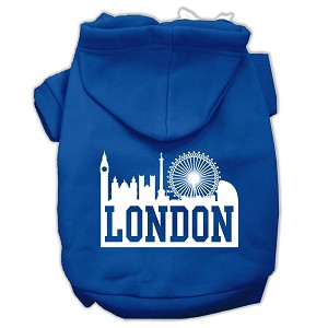 London Skyline Screen Print Pet Hoodies Blue Size Sm (10)