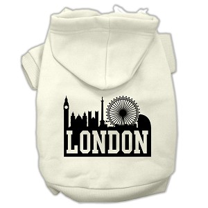 London Skyline Screen Print Pet Hoodies Cream Size XS (8)
