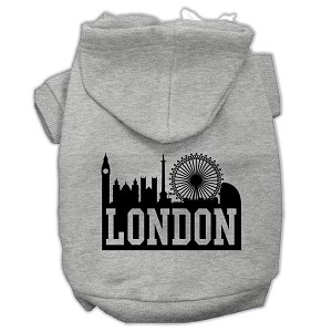 London Skyline Screen Print Pet Hoodies Grey Size Lg (14)