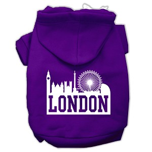 London Skyline Screen Print Pet Hoodies Purple Size XS (8)