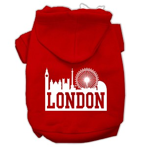 London Skyline Screen Print Pet Hoodies Red Size XXL (18)
