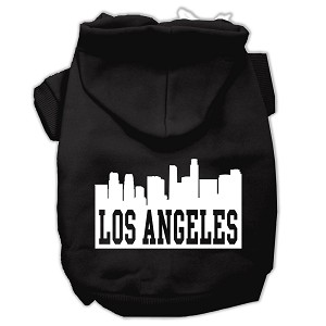 Los Angeles Skyline Screen Print Pet Hoodies Black Size Med (12)