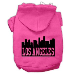 Los Angeles Skyline Screen Print Pet Hoodies Bright Pink Size XL (16)