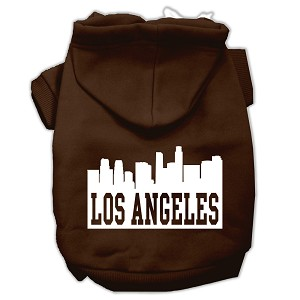 Los Angeles Skyline Screen Print Pet Hoodies Brown Size XS (8)