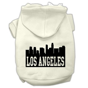 Los Angeles Skyline Screen Print Pet Hoodies Cream Size Lg (14)