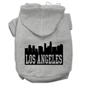 Los Angeles Skyline Screen Print Pet Hoodies Grey Size Lg (14)