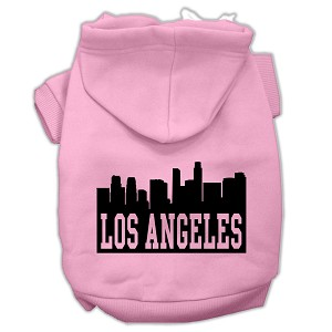Los Angeles Skyline Screen Print Pet Hoodies Light Pink Size Med (12)