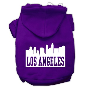 Los Angeles Skyline Screen Print Pet Hoodies Purple Size XXL (18)