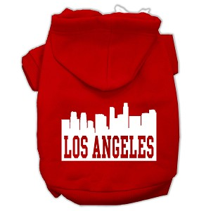 Los Angeles Skyline Screen Print Pet Hoodies Red Size Med (12)