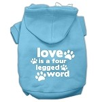 Love is a Four Leg Word Screen Print Pet Hoodies Baby Blue Size Lg (14)