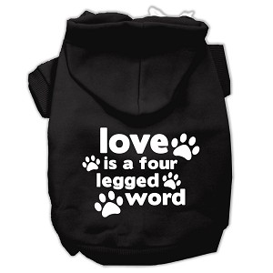 Love is a Four Leg Word Screen Print Pet Hoodies Black Size XL (16)