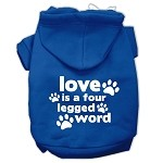 Love is a Four Leg Word Screen Print Pet Hoodies Blue Size XS (8)