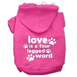 Love is a Four Leg Word Screen Print Pet Hoodies Bright Pink Size XS (8)