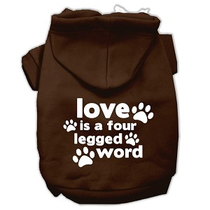 Love is a Four Leg Word Screen Print Pet Hoodies Brown Size XL (16)