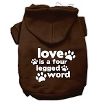 Love is a Four Leg Word Screen Print Pet Hoodies Brown Size XS (8)
