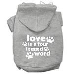 Love is a Four Leg Word Screen Print Pet Hoodies Grey Size XS (8)