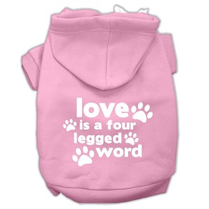Love is a Four Leg Word Screen Print Pet Hoodies Light Pink Size XS (8)