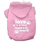 Love is a Four Leg Word Screen Print Pet Hoodies Light Pink Size Med (12)