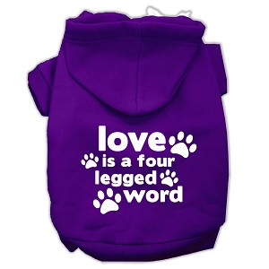 Love is a Four Leg Word Screen Print Pet Hoodies Purple Size Lg (14)