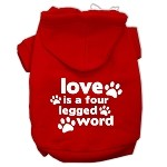 Love is a Four Leg Word Screen Print Pet Hoodies Red Size Sm (10)