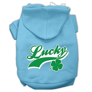 Lucky Swoosh Screen Print Pet Hoodies Baby Blue Size Lg (14)
