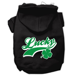 Lucky Swoosh Screen Print Pet Hoodies Black Size XL (16)