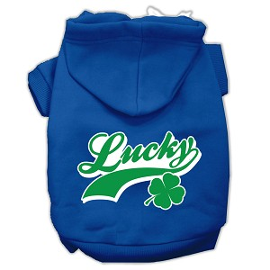 Lucky Swoosh Screen Print Pet Hoodies Blue Size Lg (14)