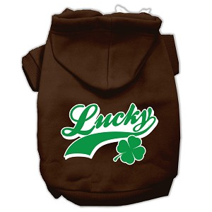 Lucky Swoosh Screen Print Pet Hoodies Brown Size Sm (10)