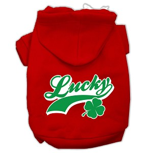 Lucky Swoosh Screen Print Pet Hoodies Red Size Med (12)