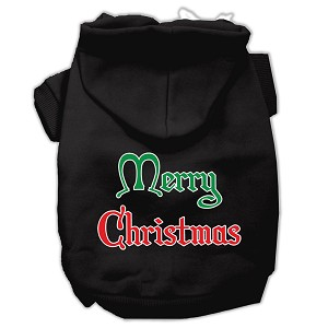 Merry Christmas Screen Print Pet Hoodies Black Size Lg (14)