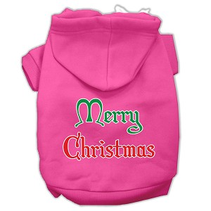 Merry Christmas Screen Print Pet Hoodies Bright Pink Size XL (16)