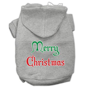 Merry Christmas Screen Print Pet Hoodies Grey Size Med (12)