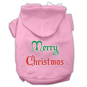 Merry Christmas Screen Print Pet Hoodies Light Pink Size XXXL (20)