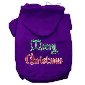 Merry Christmas Screen Print Pet Hoodies Purple Size XL (16)