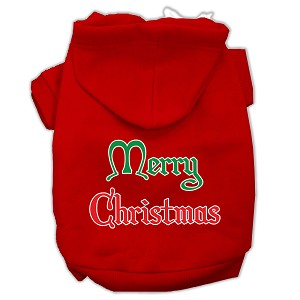 Merry Christmas Screen Print Pet Hoodies Red Size Sm (10)
