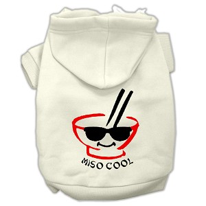 Miso Cool Screen Print Pet Hoodies Cream Size Lg (14)