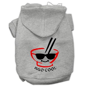 Miso Cool Screen Print Pet Hoodies Grey Size Sm (10)