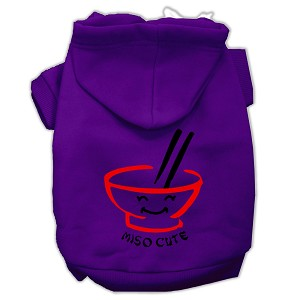 Miso Cute Screen Print Pet Hoodies Purple Size Lg (14)