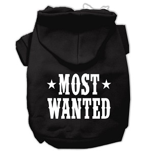 Most Wanted Screen Print Pet Hoodies Black Size XS (8)